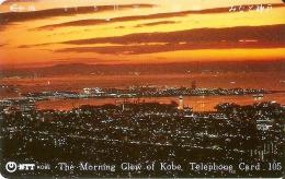 TARJETA DE JAPON DE THE MORNING GLOW OF KOBE DE 105 UNITS (330-194-1989) PUESTA DE SOL-SUNSET - Japón