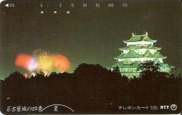 TARJETA DE JAPON DE UN PALACIO Y FUEGOS ARTIFICIALES DE 105 UNITS (290-295-1989) - Japón