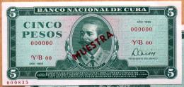 MUESTRA (SPECIMEN) 1985, Billete De CINCO PESOS, UNC. Ultimas Emisiones De Este Diseño - Cuba