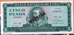 1986, Billete MUESTRA (SPECIMEN), De CINCO PESOS, UNC. Ultimas Emisiones De Este Diseño - Cuba