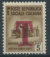 1944-45 RSI MONUMENTO DISTRUTTO 5 CENT SEGNATASSE DI EMERGENZA MNH ** - W194 - 4. 1944-45 Social Republic