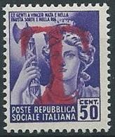 1944-45 RSI MONUMENTO DISTRUTTO 50 CENT SEGNATASSE DI EMERGENZA MNH ** - W195 - 4. 1944-45 Social Republic