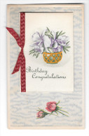 Birthday Congratulations Booklet With Ribbon Add-on Vintage Novelty Postcard - Birthday