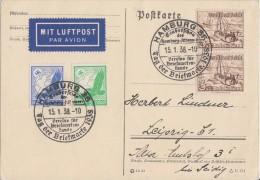DR Karte Luftpost Mif Minr.529,531,2x 651 SST Hamburg 15.1.38 Tag Der Briefmarke - Briefe U. Dokumente