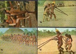 Brazil Amazonas Ethnic Nudes Indians 4 Postcards Tarjeta Postal Vintage Original Postcard Cpa Ak (W4_1101) - América