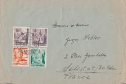 Fr. Zone Württemberg Brief  Mif Minr.16,20,28,29 Reutlingen 28.1.49 Gel. Nach Frankreich - Französische Zone