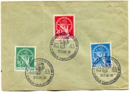 BERLIN ENVELOPPE AFFRANCHIE AVEC N°54/56 OBLITERATION 1er JOUR BERLIN-CHARLOTTENBURG 17-12-49 - Berlin (West)
