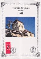 Journ�e du timbre 6-7.3.93 Sauveterre de B�arn 6.3 Les m�tiers de la Poste N�2793 de carnet Le facteur et son v�lo