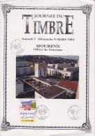 Journ�e du timbre 7-8.3.92 Mourenx 7.3 Les m�tiers de la Poste N�2744 de carnet avec vignette L'accueil des Usagers