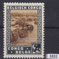 BELGIAN CONGO 1941; Mi: 203; MH; Propaganda for the National Parks, overprint, King Alberts memorial monument