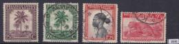 BELGIAN CONGO 1942; Mi: 210, 212, 216, 219; MH & USED; Native subjects, Palm trees, Ba-Tetele woman, Lopard
