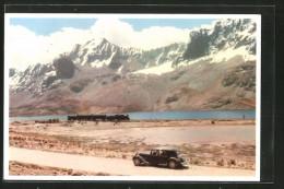 AK Ticlio, Auto, Eisenbahn, See und Bergpanorama
