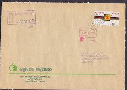 Spain CAJA DE MADRID (BANK) Registered Certificado 1992 Cover Letra DANSKE BANK Denmark Frama ATM Label (2 Scans) - Machine Stamps (ATM)