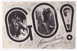 Carton Photo Format CPA - GO ! - Bonne Année - Multivue Parachutistes - BM 18 RIPC Oued Zénati, Constantine (Algérie) - Altre Guerre