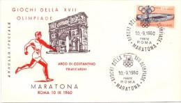 FDC ROMA ´60 -  MARATONA - ARCO DI COSTANTINO - TRAGUARDO - Summer 1960: Rome