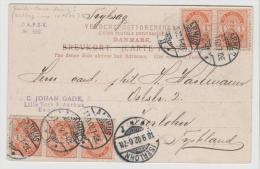 DK-C9024/  DÄNEMARK - Mehrfachfrakatur Auf AK Aarhus 17.9.02 Nach Deutschland - 1864-04 (Christian IX)