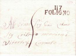 1814-TERR. CONQUIS - Lettre De 117 / FOLIGNO ( Le Trasimène ) 35 Mm Noir - Marcophilie (Lettres)