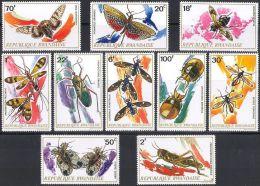 RWANDA 1973 - Abeilles, moustiques, grillons, papillons, Insectes du Rwanda - 10 Val Neuf // Mnh