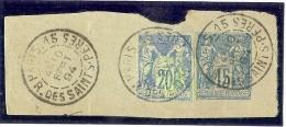 LDV -DECOUPURE DU BON DE POSTE SAGE 20c SUR FRAGMENT DE L'EP ENVELOPPE SAGE 15c OBL. PARIS R. DES S.TS PERES 10/9/1894 - Autres