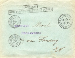 Gare De Rassemblement 7ème Corps-L.S.C. Du 31 Décembre 1914. - Marcofilie (Brieven)
