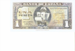 SPAIN 1940- REPLICA - REPRODUCTION -OVALO CON NAVE SANTA MARIA - PAPER BILL 1 PESETA  ISSUED JSEP 4, 1940 RE35 3 PERFEC - [ 8] Ficticios & Especimenes