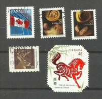 Canada N°1545a,1656,1657,1832,1911 Cote 3.05 Euros - Oblitérés