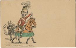 Boer War Cartoon Satirical Transvaal Sortie Decisive Du Glorieux White Scotland Bagpipe Horse With Kilt Fredillo - Sudáfrica