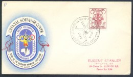 Australia 1956 Olympic Games Cover: Melbourne Coat Of Arm; Olympic Torch Kangaroo; Running Main Stadium Cancellation - Sommer 1956: Melbourne