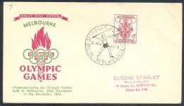 Australia 1956 Olympic Games Cover: Melbourne Coat Of Arm; Olympic Torch; Javelin Olympic Village  Cancellation - Sommer 1956: Melbourne