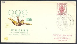 Australia 1956 Olympic Games Cover: Melbourne Coat Of Arm; Diving; Olympic Park Cancellation - Sommer 1956: Melbourne