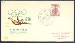 Australia 1956 Olympic Games Cover: Melbourne Coat Of Arm; Diving; Swimming Olympic Park Cancellation - Sommer 1956: Melbourne