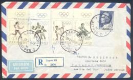 Yugoslavia 1968 Olympic Games Registered Air Mail Cover: Ciudad De Mexico; Rowing, Running, Basketball, Gymnastics - Summer 1968: Mexico City