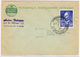 T7. Autriche. Badgastein 05.11.58. Die Quelle Ewiger Jugend. Enveloppe = Esperanto.
