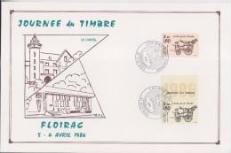 Journ�e du Timbre 1986 Floirac 5.4.86 sur encart timbres 2410 feuille 2411 carnet avec la vignette Malle Poste Briska