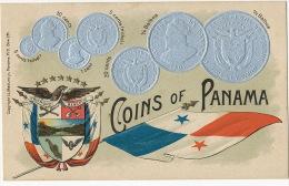 Coins Of Panama Embossed Card Silver Coins Flag Escudo  Edit Maduro - Panama