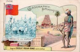 Chromos  Geographie Pittoresque  Inde Recolte Du Coton (chocolat Poulain Orange) - Poulain