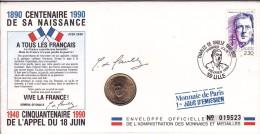 Premier Jour LILLE Dpt 59 Le 24 Fevrier 1990 - Enveloppe 22 X 11 Cm -  Charles De Gaulle - Centenaire De Sa Naissance - 1990-1999