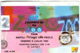 BIGLIETTO concerto U2 allo stadio San Paolo di Napoli - 9 Luglio 1993