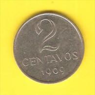 BRAZIL   2 CENTAVOS  1969  (KM # 576.2) - Brazil