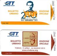 2 Biglietti Commemorativi : Bicentenario Della Nascita Di Don Bosco - Sindone 2015  - Gruppo Torinese Trasporti - Transporto