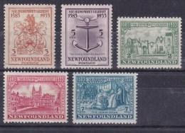 1933 Newfoundland (Canada) - 2 Scans 350th Anniv Of Sir Humphrey Gilbert's Annexation ,Mi 201/05 SG 235/39 MLH - Kanada