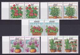 1992 San Marino Saint Marin FIORI E PIANTE FLOWERS AND PLANTS 2 Serie Di 5v. MNH** Coppia - Non Classés