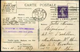 FRANCE - ROULETTE DU N° 236 DENTS MASSICOTÉS / CP DE LA SAMARITAINE , OM DU 10/12/1927 - TB - Roulettes