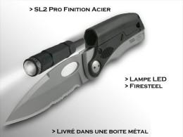 Couteau De Survie Avec Lampe Et Sifflet Integré Lame 8cm - Blankwaffen