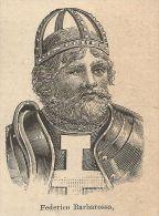 A9612 Ritratto Di Federico Barbarossa - Xilografia Antica Del 1906 - Engraving - Prints & Engravings
