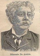 A9342 Edmondo De Amicis - Xilografia - Stampa Antica Del 1906 - Engraving - Prints & Engravings
