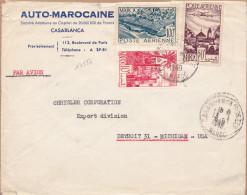 14527# LETTRE PAR AVION Obl CASABLANCA POSTES MAROC 1949 DETROIT MICHIGAN USA - Marokko (1891-1956)