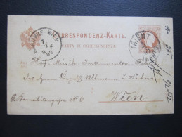 GANZSACHE  TRIENT Trento - Wien 1882 Korrespondenzkarte  ///  D*16359 - 1850-1918 Imperium