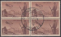 First Day Cancel On Mint Block Of 4, Defence Campaign, Parachute, Airplane, Army, Militaria, India 1963 - Blocks & Sheetlets