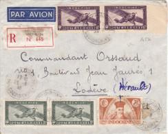14536# INDOCHINE LETTRE PAR AVION RECOMMANDE Obl SAIGON PRINCIPAL COCHINCHINE 1946 Pour LODEVE HERAULT - Indochina (1889-1945)
